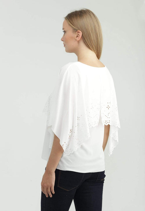 Kay Celine Top Laser Cut Capelet Top in Off White