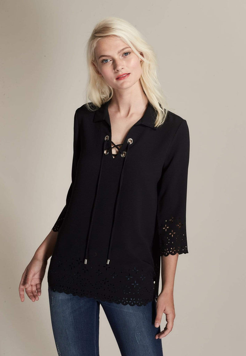 Kay Celine Top Laser Cut Lace-Up Top in Black