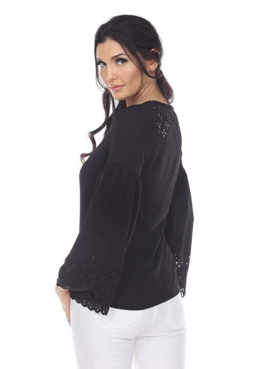 Kay Celine Top Laser Cut V-Neck Bell Sleeve in Black