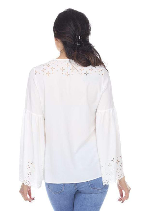 Kay Celine Top Laser Cut V-Neck Bell Sleeve in Off White