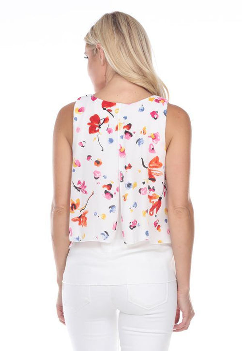 Kay Celine Top Lila Mixed Print Top in White Floral