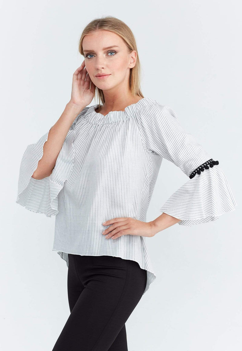 Kay Celine Top M / Black-Stripe Striped Pom Pom Trim Top
