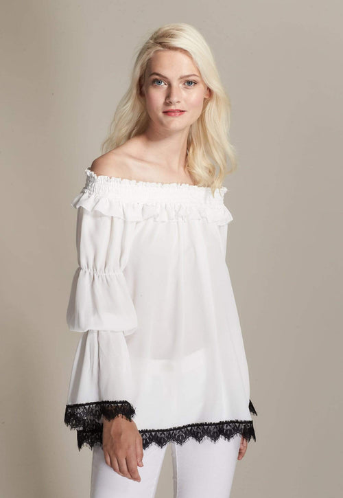 Kay Celine Top Off The Shoulder Lace Trim Blouse in Off White
