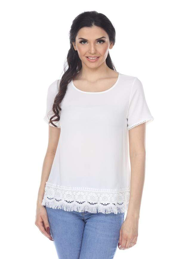 Kay Celine Top On the Fringe Top in Off White