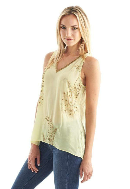 Kay Celine Top Paisley Dream Beaded Tank