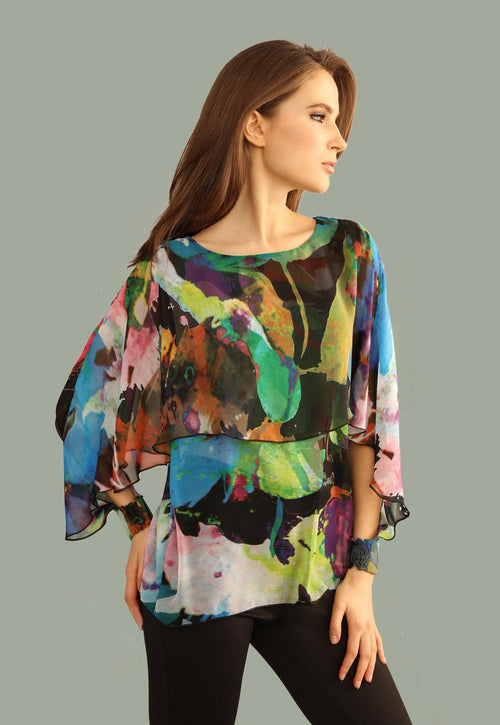 Kay Celine Top Portia Print Capelet Blouse in Abstract Watercolor