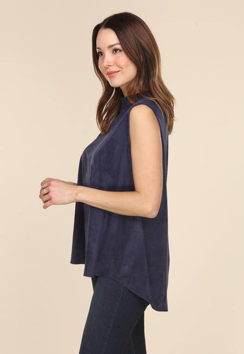 Kay Celine Top Sheila Suede Top in Navy