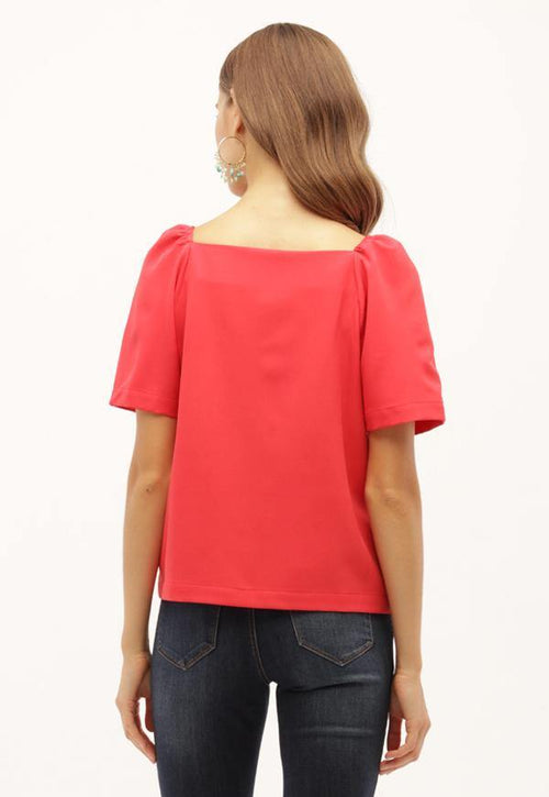 Kay Celine Top Square Up Blouse in Coral