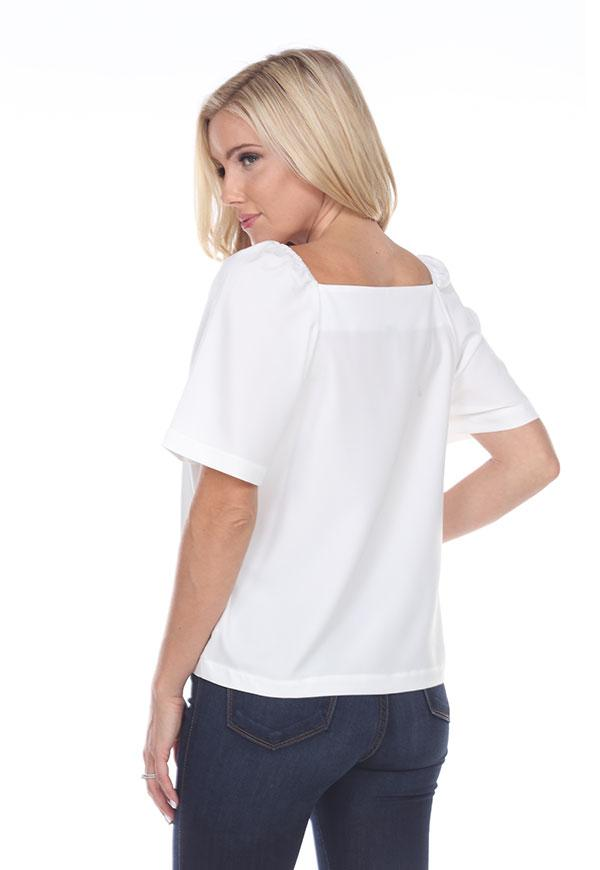Kay Celine Top Square Up Blouse in Off White