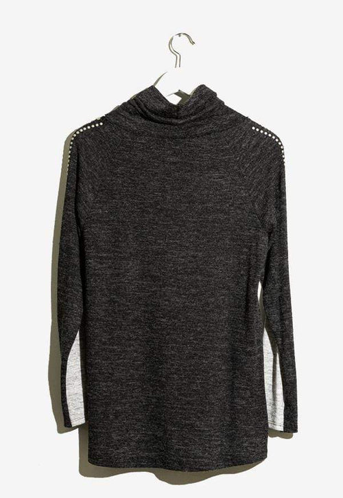 Kay Celine Top Star Studded Top in Grey/Charcoal