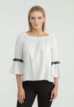 Kay Celine Top Striped Pom Pom Trim Top