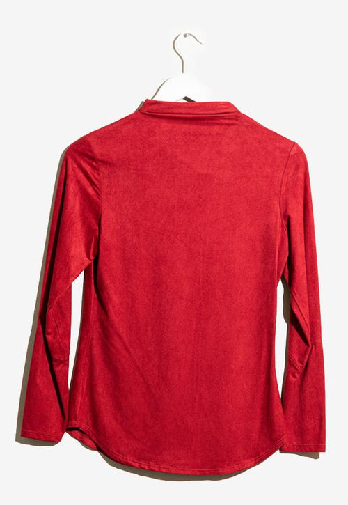 Kay Celine Top Tatum Suede Blouse in Red