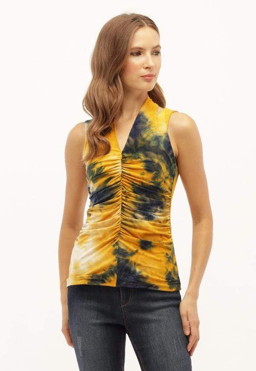 Kay Celine Top Tie Dye Tank in Royal Gold