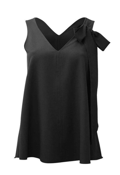 Kay Celine Top XS / Black Bow Tank in Black