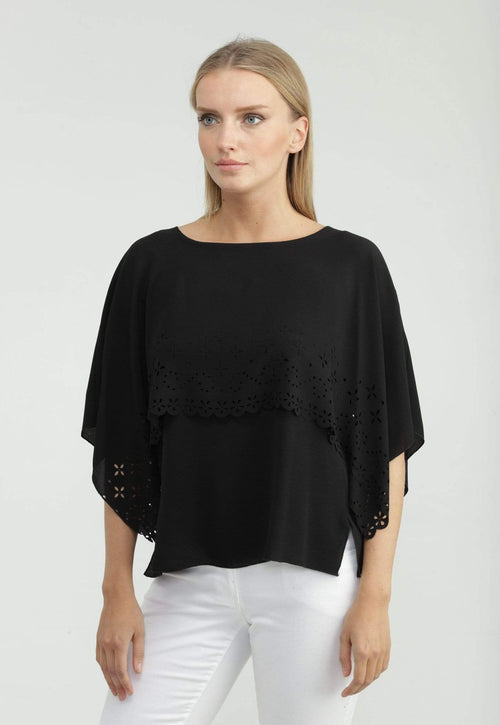 Kay Celine Top XS / Black Laser Cut Capelet Top in Black