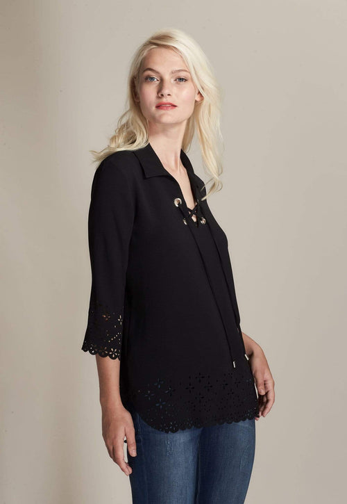Kay Celine Top XS / Black Laser Cut Lace-Up Top in Black