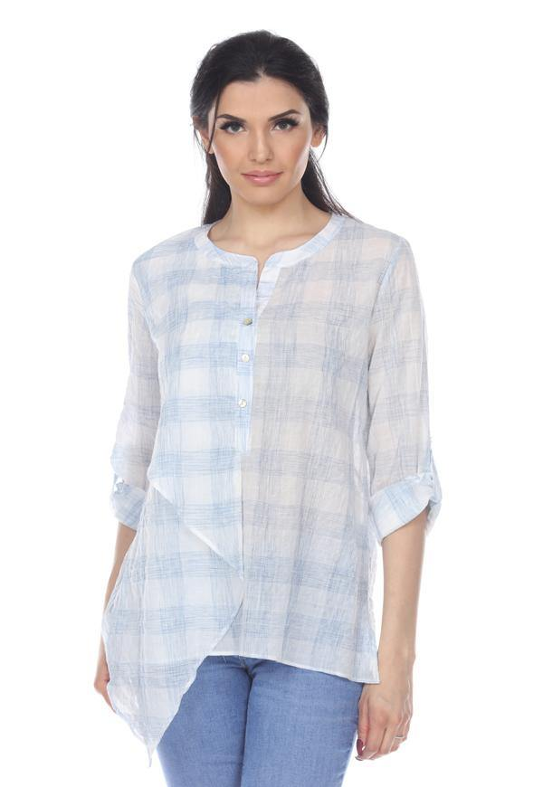 Kay Celine Top XS / Blue-White Checkered Top