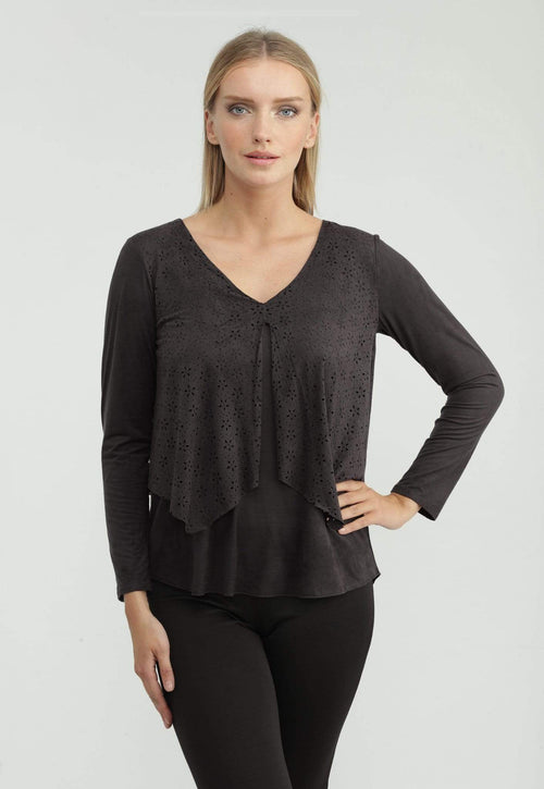 Kay Celine Top XS / Charcoal-Suede Laser Cut Suede Top