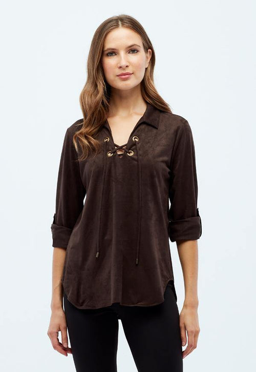 Kay Celine Top XS / Chocolate-Suede Erin Suede Blouse in Chocolate