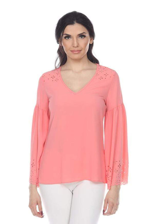 Kay Celine Top XS / Coral Laser Cut V-Neck Bell Sleeve in Coral