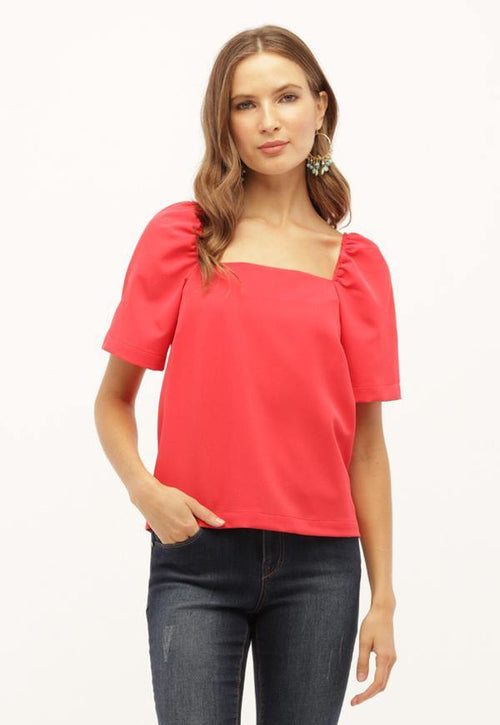 Kay Celine Top XS / Coral Square Up Blouse in Coral