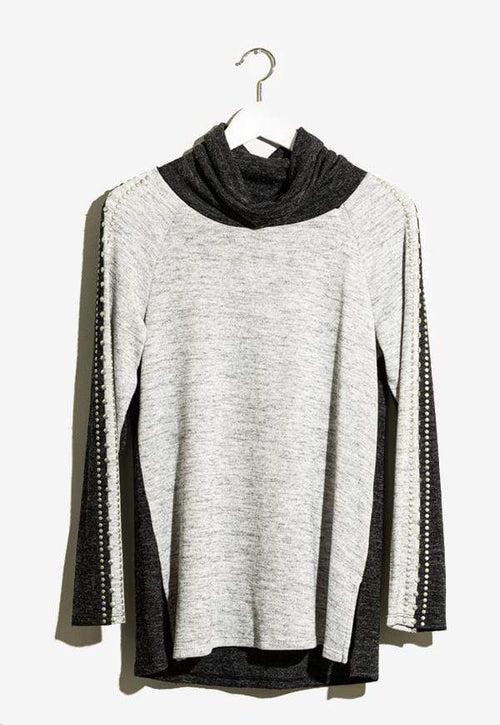 Kay Celine Top XS / Grey-Charcoal Star Studded Top in Grey/Charcoal