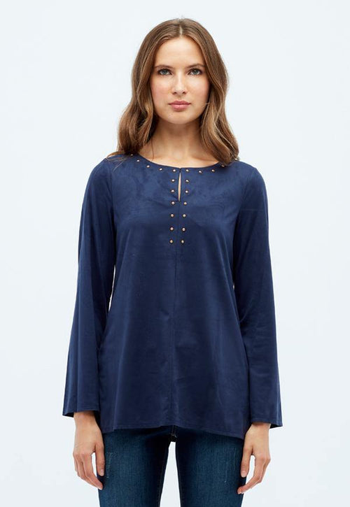 Kay Celine Top XS / Navy-Suede Cindy Suede Studded Top in Navy