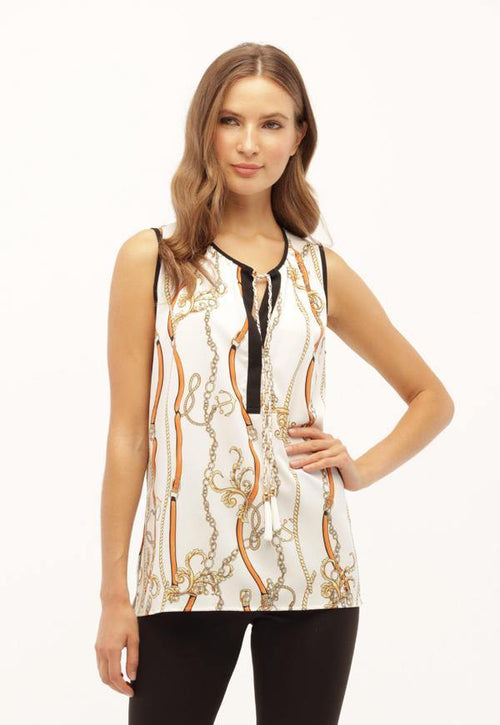 Kay Celine Top XS / Off-White-Apricot Chain Print Blouse in Off White/Apricot
