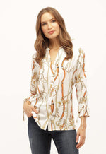 Kay Celine Top XS / Off-White-Apricot Chain Print Top in Off White/Apricot