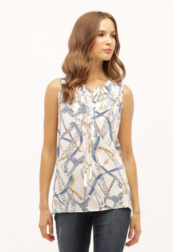 Kay Celine Top XS / Off-White-Blue Blue Chain Sleeveless Blouse
