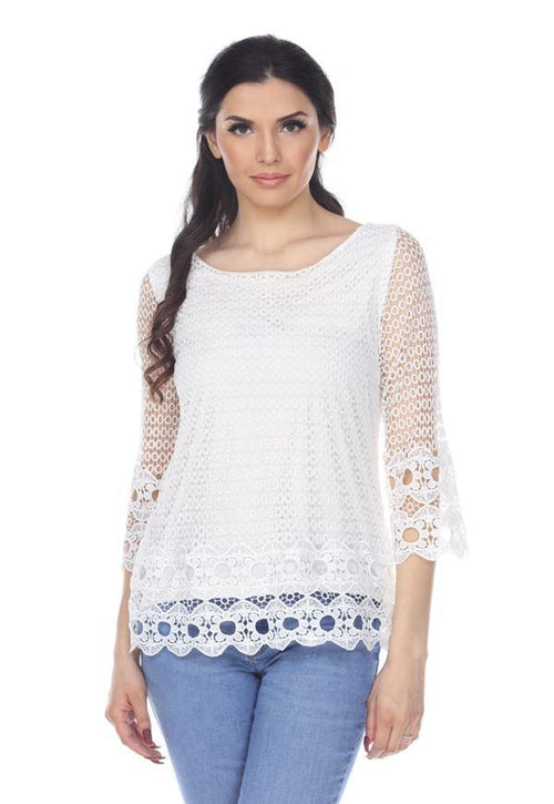 Kay Celine Top XS / Off-White Crochet Lace Top in Off White
