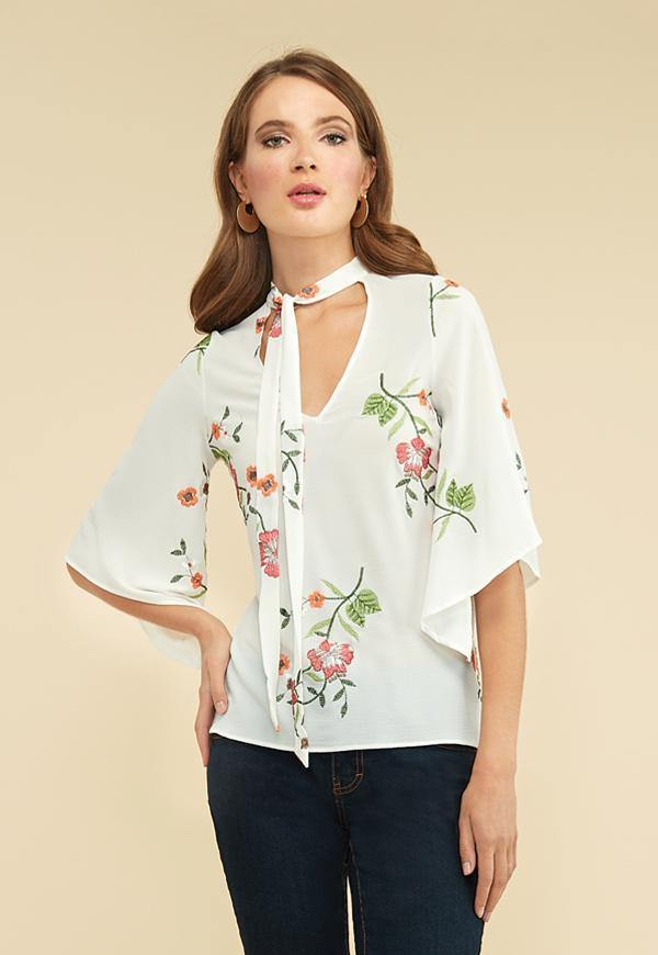 Kay Celine Top XS / Off-White Floral Embroidered Tie Neck Top in Off White