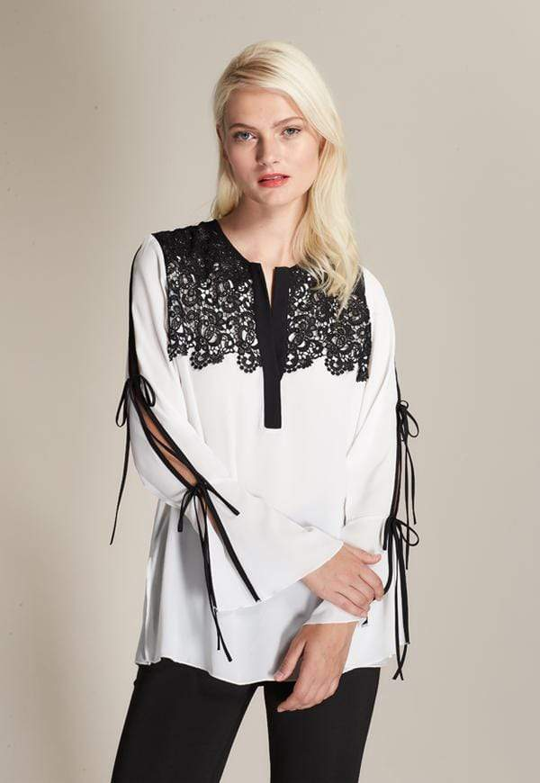 Kay Celine Top XS / Off-White Lace Applique Top in Off White