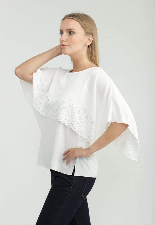 Kay Celine Top XS / Off-White Laser Cut Capelet Top in Off White