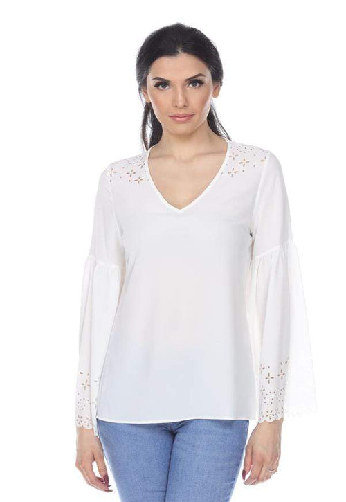 Kay Celine Top XS / Off-White Laser Cut V-Neck Bell Sleeve in Off White