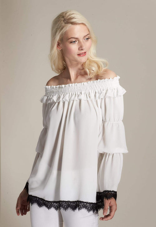 Kay Celine Top XS / Off White Off The Shoulder Lace Trim Blouse in Off White