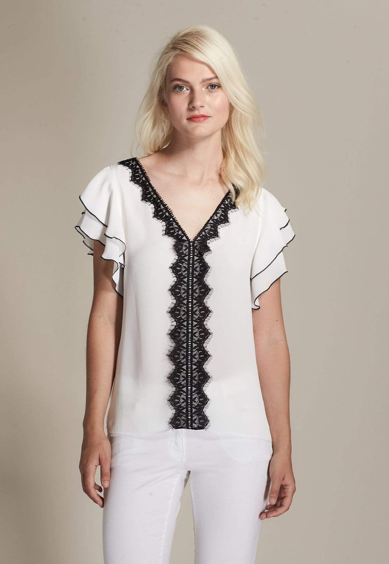 Kay Celine Top XS / Off-White V Neck Lace Trim Top