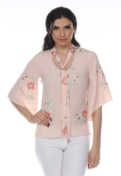 Kay Celine Top XS / Peach Floral Embroidered Tie Neck Top in Peach
