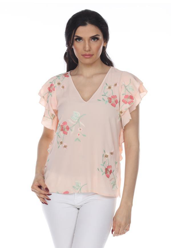 Kay Celine Top XS / Peach Floral Embroidered Top in Peach