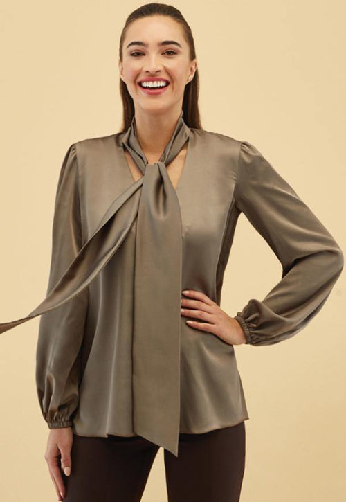 Kay Celine Top XS / Pewter Evie Tie Neck Blouse in Pewter