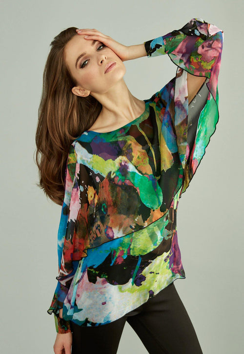 Kay Celine Top XS / Print-107 Portia Print Capelet Blouse in Abstract Watercolor