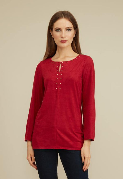 Kay Celine Top XS / Ruby-Suede Cindy Suede Studded Top in Ruby