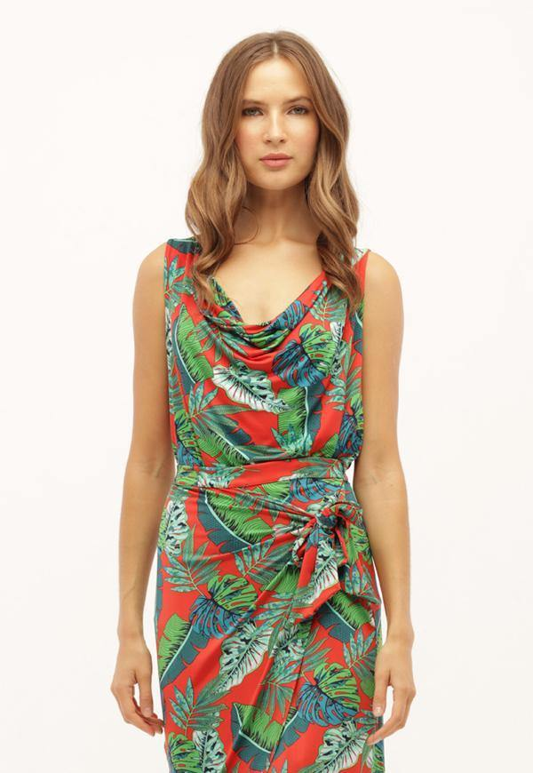 Kay Celine Top XS / Tropical-Red Droop Neck Tank in Tropical Red