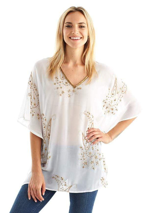 Kay Celine Top XS / White Paisley Dream Beaded Tunic