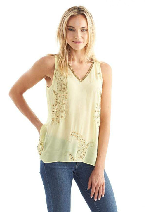 Kay Celine Top XS / Yellow Paisley Dream Beaded Tank