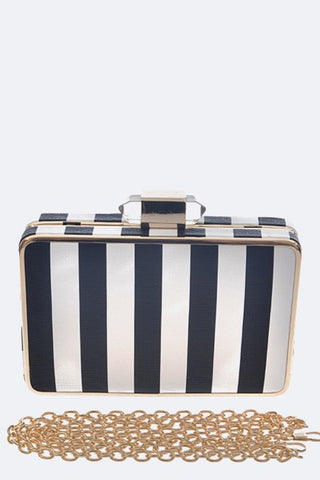 Striped Box Clutch