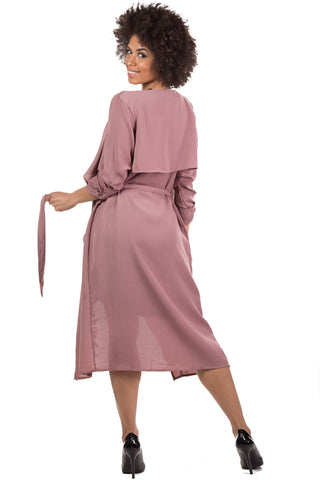 LONGSLEEVE WOVEN MIDI TRENCH COAT W/WAIST TIE (TAUPE)/MAUVE