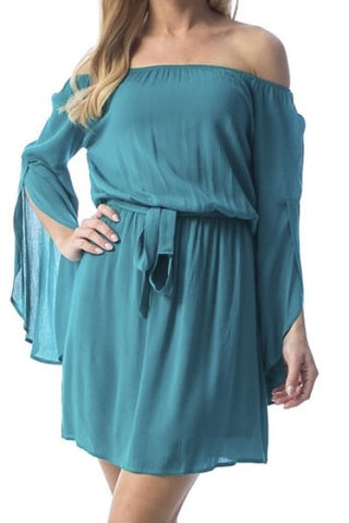 Bare Shoulder Turquoise Dress