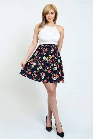 Floral Flare Dress with Lace Top