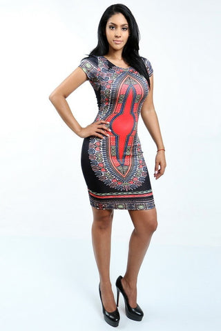 Print Bodycon Dress (Plus Sizes Available)